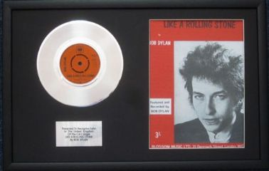 "BOB DYLAN - 7"" Platinum Disc & Song Sheet -LIKE A ROLLING STONE"